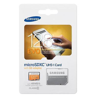 SAMSUNG 128GB EVO MicroSD Micro SDXC Class 10 Flash Memory Card w/ SD Adapter