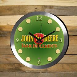 John Deere Wall Clock Large 12 inch Non Ticking Sweep Hand Glass Aluminum
