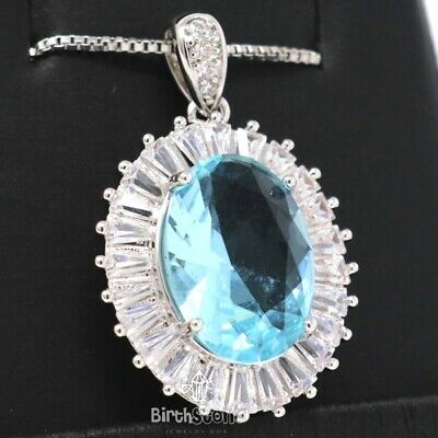 4Ct Oval Blue Aquamarine Diamond Halo Necklace Women Jewelry White Gold Plated