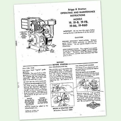Briggs And Stratton Model 19-fb Engine Operators Owners Maintenance Manual 19