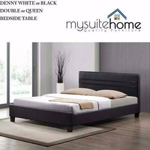 Gold Coast Denny White/Black Leather Double/Queen Size Bed Bundall Gold Coast City Preview
