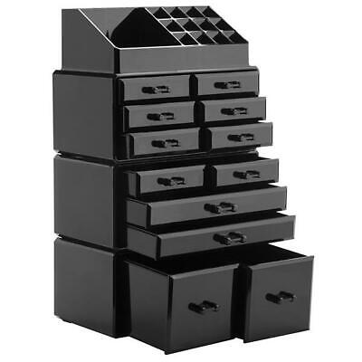 Acrylic Makeup Organizer Drawers Cosmetic Case Holder Jewelry Storage Box Black