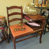 VINTAGE TELEPHONE TABLE GOSSIP BENCH CHAIR ANTIQUES HOME DECOR