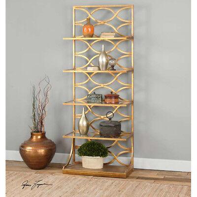 Contemporary Etagere (Contemporary Gold Leaf Metal & Glass Etagere Shelf Unit )