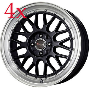 Drag Wheels DR-44 15x7 4x100 4x114.3 Black Rim For xb Celica Sentral XB Xa Civic