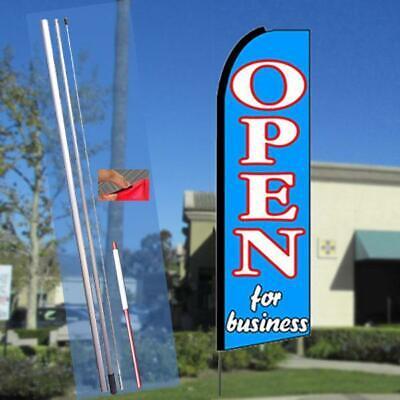 Open For Business Flutter Feather Flag Kit Bundle Flag Pole Ground Mount