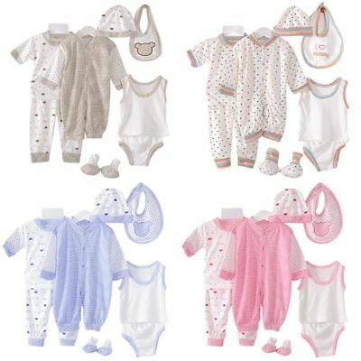 5Pcs Newborn Infant Baby Girl Boy Shirt+Pants +Hat+Bid Set Outfits Clothes 0-3M