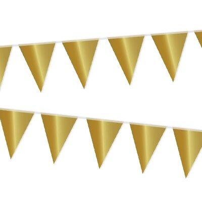 Goldene Wimpelkette,10m, Raum-Deko-Idee für Geburtstag, Party oder Jubiläum ()