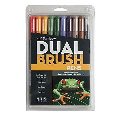 Tombow 56168  Dual Brush Pen Set, Secondary, 10Pk NEW