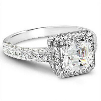 2.02 Ct. Asscher & Micro Pave Diamond Engagement Ring 18K White GIA Cert  F, IF
