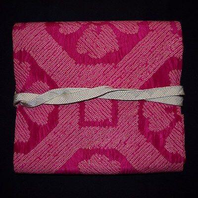 "Vintage Japanese Nagoya Obi & Obi Jime Belt Set Kimono ""Magenta Shibori Floral"""