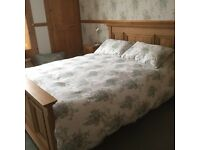 King size Oak bed and mattress as new