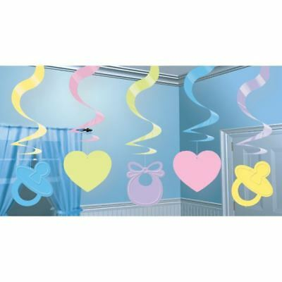 Pastel Baby Shower Hanging Swirl Decorations Arrival Party Gender Neutral - Gender Neutral Baby Shower Decorations
