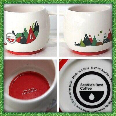 Seattle's Best Round Coffee Mug - Modern Christmas Red Green - Deer Trees (Best Modern Christmas Tree)