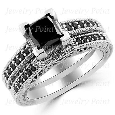 1 96Ct Fancy Princess Black Diamond Ring Matching Engagement Set 14K White Gold