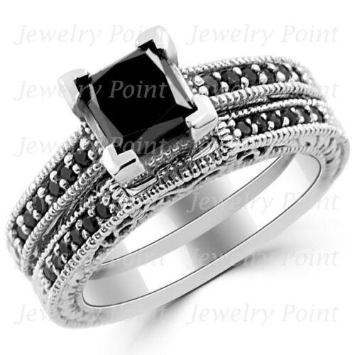 1.96ct Fancy Princess Black Diamond Ring Matching Engagement Set 14k White Gold