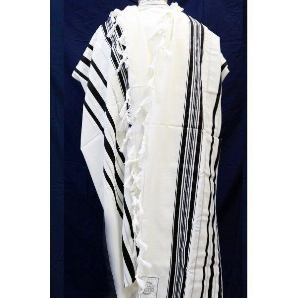 TRADITIONAL WOOL TALLIT WITH BLACK & SILVER STRIPES Jewish Prayer Shawl SIZE 60