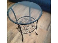 TABLE - ROUND BLACK & GLASS SIDE TABLE