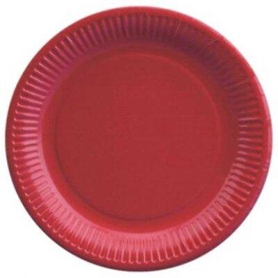 Pappteller rot, 23 cm, 20 rote Partyteller, Frischfaserkarton beschichtet (Rot Party Pappteller)