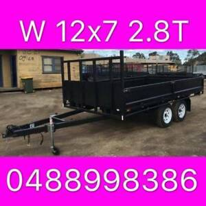 12x7 tandem trailer table top flattop trailer side walls 2800kgs
