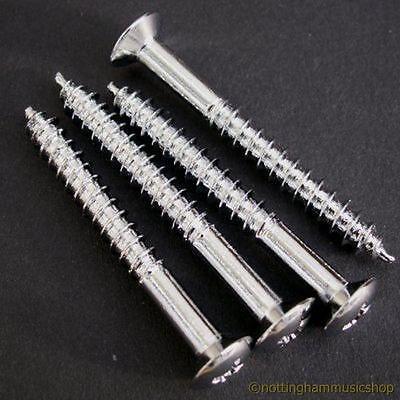 4 CHROME ELECTRIC GUITAR NECK PLATE SCREWS NEW NECK ST