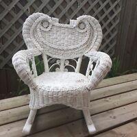 Antique child size Wicker / Rattan Rocking Chair