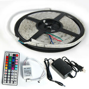 5M-Waterproof-3528-SMD-Flexible-RGB-300-LED-Strip-Light-Car-Lamp-IR44-Power-Kit
