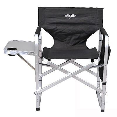 Oversized Camping Chair Lounge Big Director Tall Outdoor Folding Portable Black