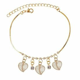 Chic Faux Zircon Hollow Out Leaf Anklet For Women