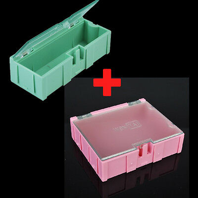 5pc Pink 5pc Green Smt Smd Kit Anti-static Laboratory Components Storage Boxes