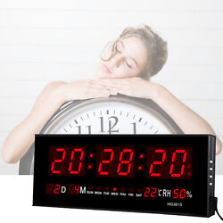 Digital Large Big LED Display Wall Desk Clock With Calendar Temperature Humidity