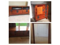Ruddiman living room furniture set, including coffee table, tv unit, lamp/ side table and mirror