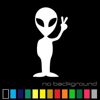 Alien Sticker Vinyl Decal - UFO Space Peace Sci Fi Funny Car Window Bumper Decor (Peace Decorations)