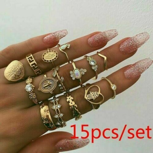 10 Pcsset Gold Midi Finger Ring Set Vintage Punk Boho Knuckle Rings Jewelry