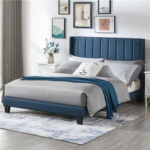 Shasta Navy Blue Queen Size Upholstered Bed Frame Mattress Foundation with Wingback Headboard