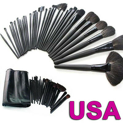 Professional Makeup Brush Set 32 Eyebrow Shadow Cosmetic Brush Kit + Case Bag on Rummage