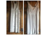 x2 Gold Sparkly Dresses Size 12 & In Excellent Condition £8 for both