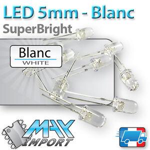 LED-blanches-5mm-Haute-luminosite-Par-lot-de-10-a-1000pcs-white-blanc
