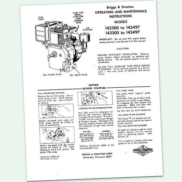 BRIGGS AND STRATTON 6hp ENGINE 143300 to 143497 OPERATING MANUAL OPERATORS point