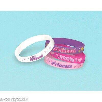PRINCESS RUBBER BRACELETS (4) ~ Pink Birthday Party Supplies Favors Wristbands