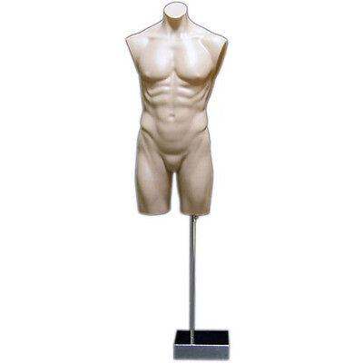 Mn-193 Fleshtone Male Armless Round Body Plastic Torso Mannequin Dress Form