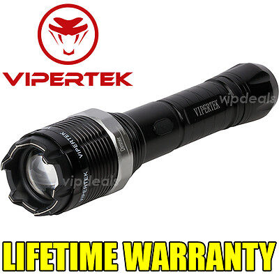 VIPERTEK VTS-T01 Metal Police 600 MV Stun Gun Rechargeable LED Flashlight + Zoom