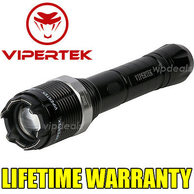 VIPERTEK VTS-T01 Metal 73 BV Stun Gun Rechargeable LED Flashlight + Taser Case