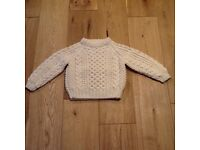Hand Knitted Aran Sweater age 2-3