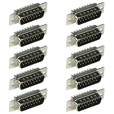 10x D-sub 15-pin Db15 Male Plug Assembly Solder Connector Cup Socket