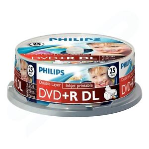 Philip 8X Blank DVD+R 8.5 GB Dual Layer 25 Pcs. Spindle