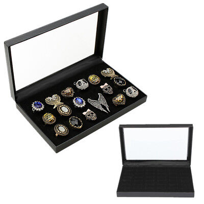 Hot Ring Display Jewelry Tray Black Velvet Pad Box 36 Slot Insert Holder Case