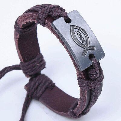 Dark Brown Leather, Simple Fish with Jesus Bangle Christian Bracelet, Adjustable