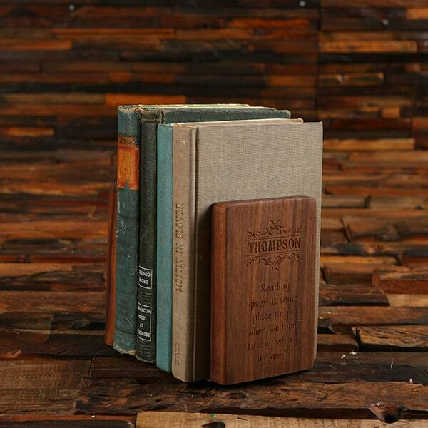 Personalized Walnut Wood Brass Bookend Gift Set for Readers Bookworms Writers