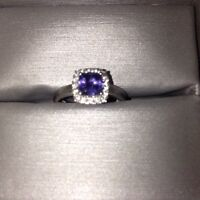 Tanzanite  diamond. White gold band